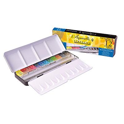 Sennelier Watercolour Set of 12 Half Pans in a colour palette of the Impressionists.