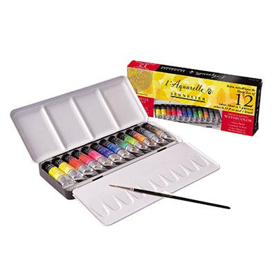 Sennelier watercolour metal box set of 12 x 10ml tubes and one brush.