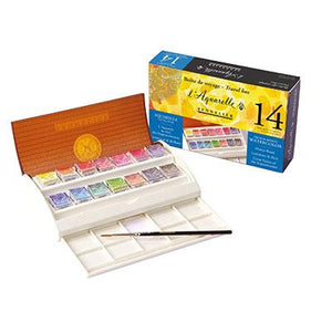 Sennelier Watercolour Field Travel Box contains 14 watercolours in half pans.