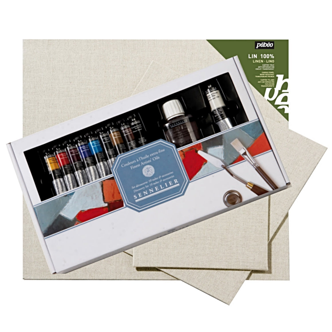 "1 x Sennelier Oil Discovery Set 10 x 21ml tubes, turpentine, charcoal, brushes, palette knife and metal dipper. 1x Pébéo Linen Canvas Panels/Board 8"" x 10"" 1x Pébéo Linen Canvas Panels/Board 10"" x 12"" 1x Pébéo Linen Canvas Panels/Board 12"" x 12"""