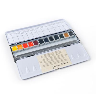 Blockx Watercolour Box Sets of 12 and 24 half pans in a classic metal case for field painting and serves as the perfect introduction to Blockx watercolours.