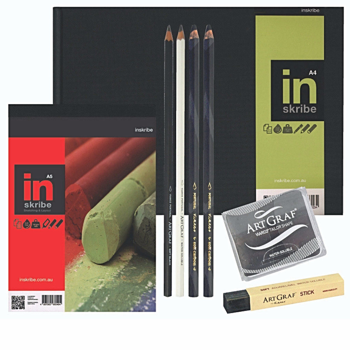 This set includes an A4 landscape and A5 hardbound sketch pad, 4 ArtGrat limited edition graphite pencils with a soft watercolour stick and a unique disc which can be used dry for drawing or with water soluble techniques that allow for an unusually expressive range of shades.