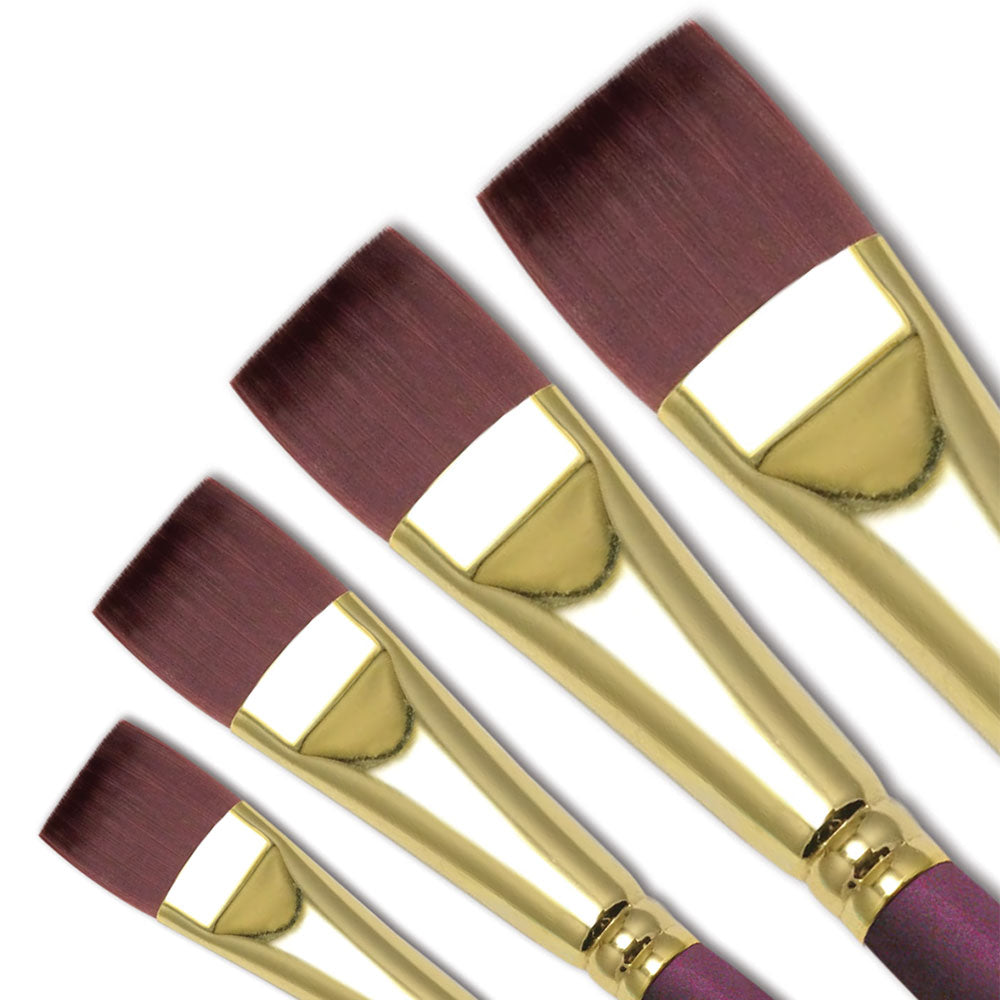 The Royal Langnickel Bordeaux™ Series 6900 Flat Ferrule is the smoothest red, long handle available in 6 sizes.  Bordeaux™ brushes are made with strong and resilient synthetic filaments that are specifically developed for use with acrylic paints but can be used with oils as well.