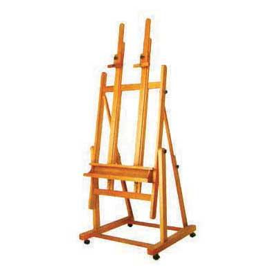 Extra heavy duty, two position easel on castors that holds canvases up to 150cm.