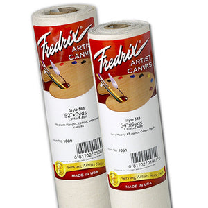 Fredrix Canvas Roll - Cotton No.1069 (568) is a medium weight unprimed pure cotton duck with good tooth. 100% unprimed cotton canvas is specifically woven to ridged specifications.