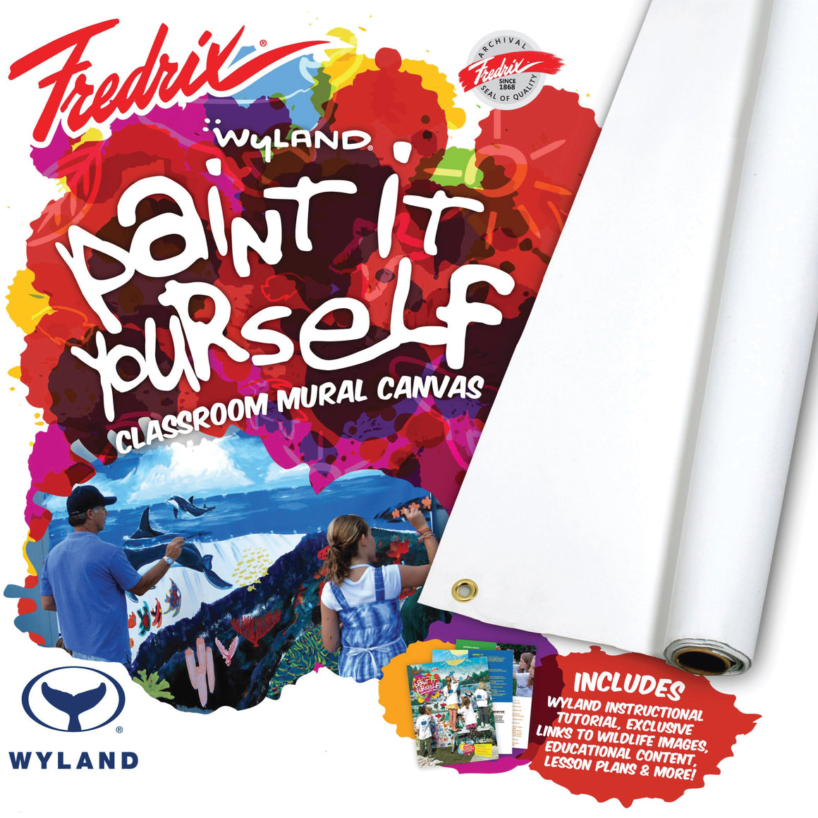 Wyland Classroom Mural/Banner Canvas is a new product developed by nature artist Wyland® and Fredrix® Artist Canvas that uses art to teach young people about our forests and oceans, and their importance to the world as irreplaceable resources.