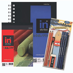 The Generals Sketch Mate set also includes an Inscribe A4 blue label wirebound sketchbook and an A5 portrait sketch pad.
