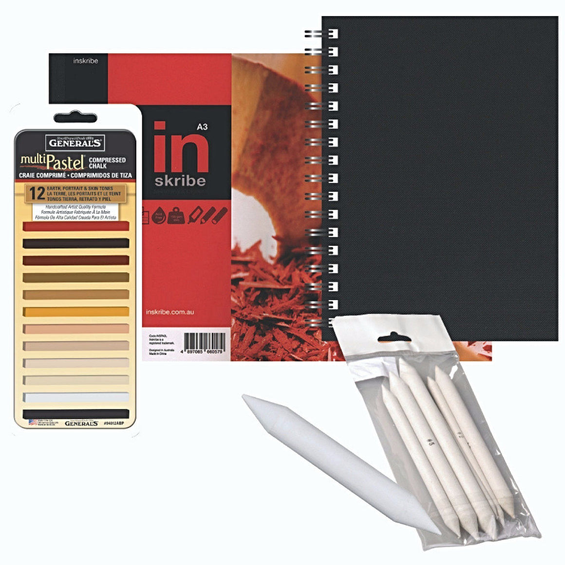 The Generals Pastel Set can be used to create vibrant drawings or add subtle colours to charcoal or graphite drawings. These pastel sticks provide extra smooth, pure pigment perfect for fine art drawing.  Set consists of the following items:  1 x Generals Compressed Pastel Box of 12 square sticks 1 x A4 Inskribe Portrait Black Wire-bound Sketchbook 1 x A3 Inskribe Paper Pad, medium grain acid-free paper, 62 sheets 1 x Set of 6 Paper Stumps 1 x Jumbo Stump