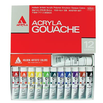 Holbein Acryla Gouache Masters Set - 11 x 20ml colours and 40ml white.