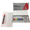 Holbein Acrylic Gouache school set includes:  12 x 12ml Colours 1 x 20ml White 1x Plastic Palette 1x Cloth