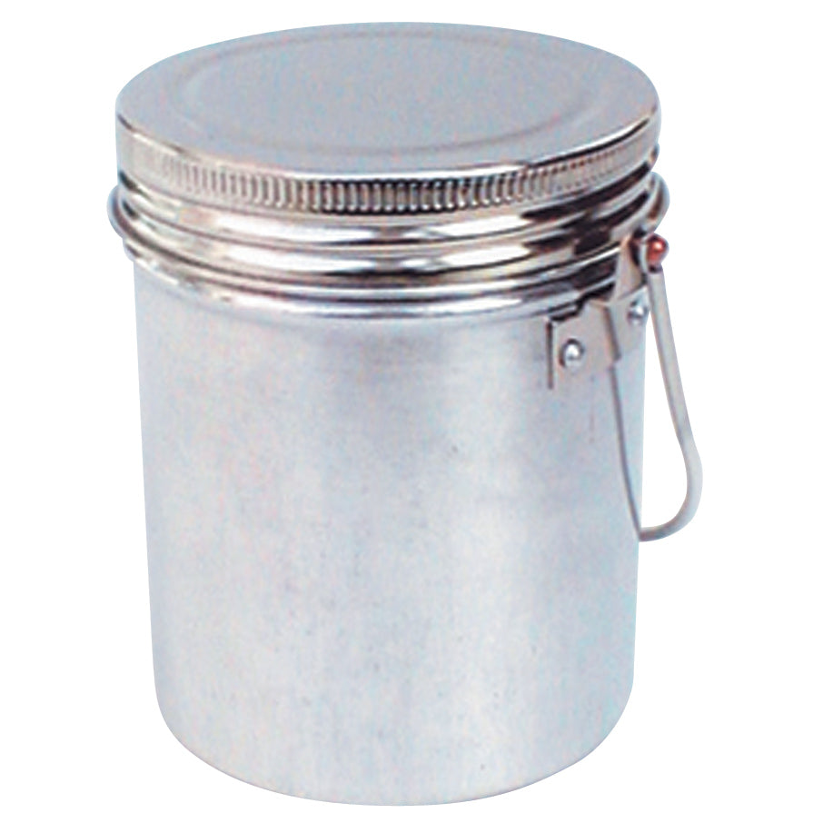 Holbein Brush washer made from Chrome plated tin with a screw on cap and a chrome plated tin receptacle.