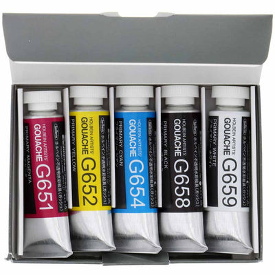 Holbein Artist Designer Gouache G741 Primary Mixing Set 5 x 15ml tubes more finely ground than any other competing gouache.
