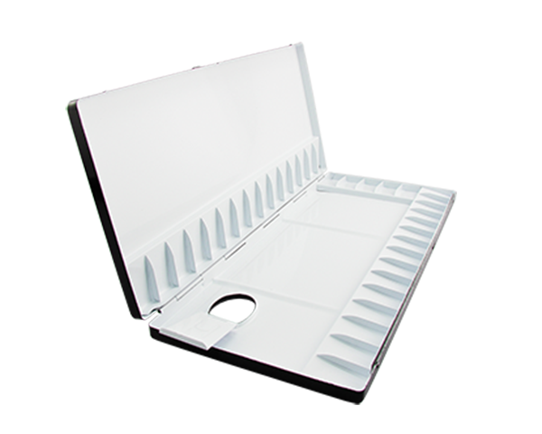 A beautiful light-weight aluminium palette with a black and white enamel finish.  The 35 slants and 4 wells provide an exceptional area for storing and mixing your watercolours.