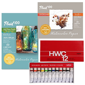 "1x Holbein Watercolour Set - 12 x 30 x 5ml tubes 1x Fluid 100 Watercolor Paper - 5 Sheets 300g CP 16"" x 20"" (406.4 x 508mm) 1x Fluid 100 Watercolour - 15 Sheet HP Block 9"" x 12"" (228.6 x 304.8mm)"