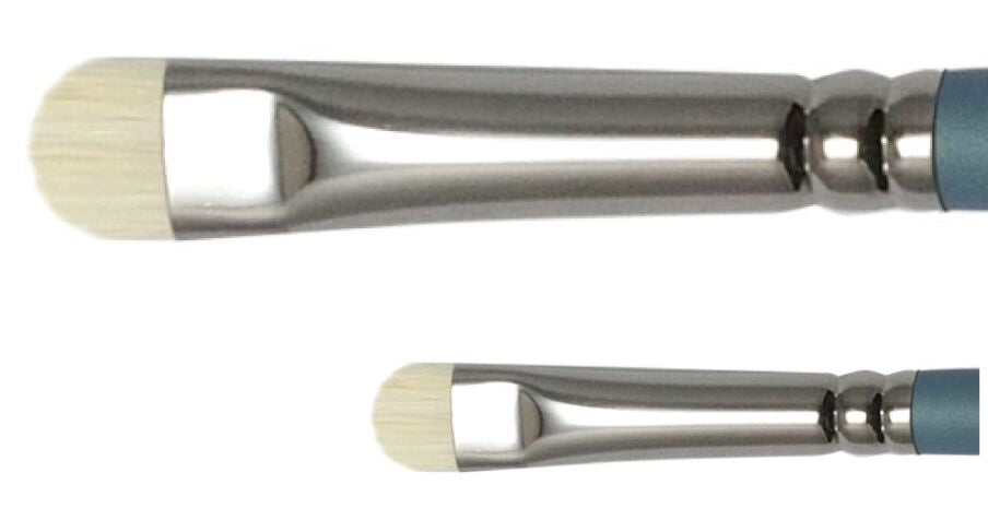 The Royal Langnickel Imia Series 21 Short Filbert Ferrule is available in 2 sizes.  The brush holds an impressive amount of paint. The rubber feel of the long handle will not slip in wet hands or if the handle is wet.  Imia™ brushes are carefully hand-crafted from the finest Chungking hog bristles.