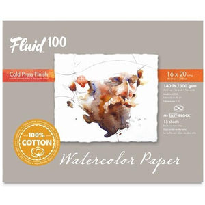 Fluid 100 is a premium, archival cotton watercolour paper unlike any other. It is made by our European mill masters who combine traditional papermaking techniques with modern technology. The result is beautiful natural white sheet that is strong with a subtle yet pleasing surface texture.