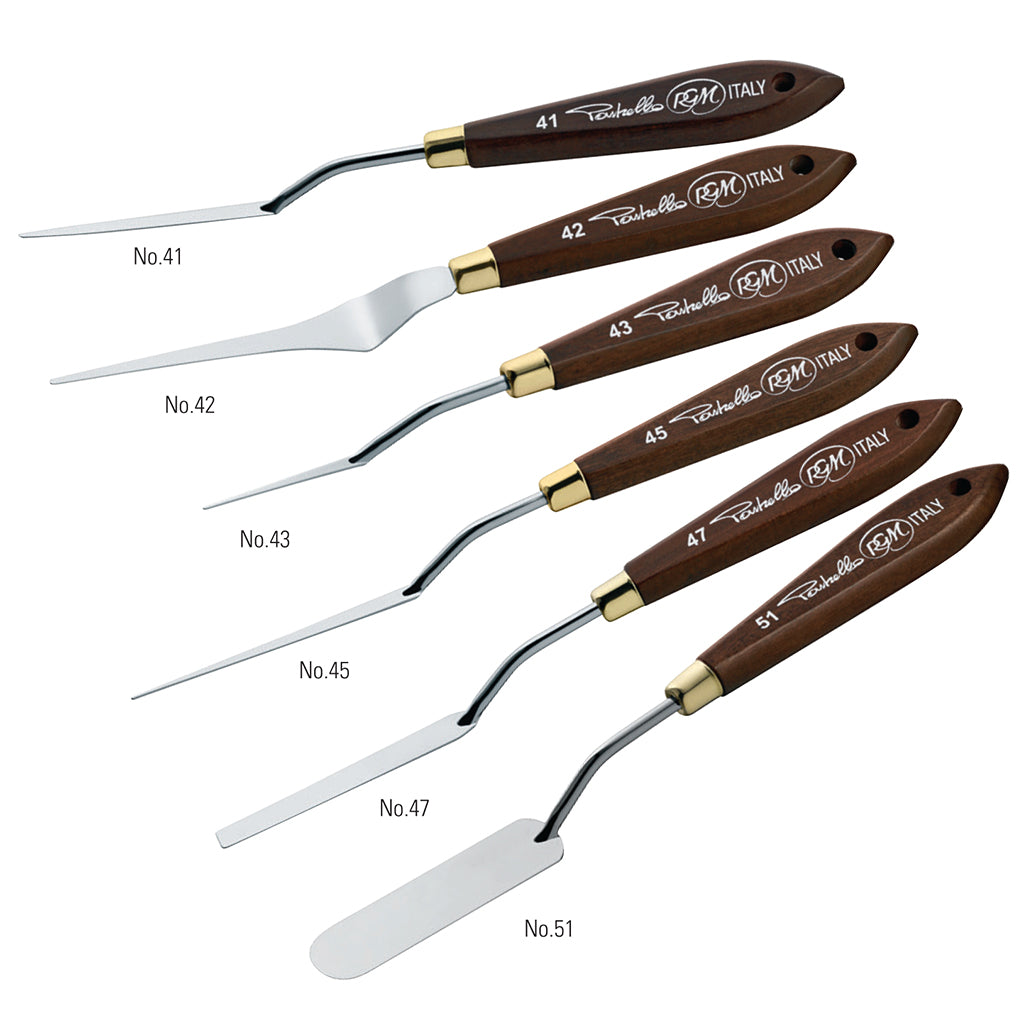 new palette knives shapes allow a variety of uses, from thin flexible blades for small well-defined details and the wider blades with rounded edges to spread the colour beautifully. 6 sizes available in this range