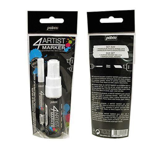 Pébéo 4Artist Duo Markers set contains a 4mm bullet tip and an 8mm chisel tip marker.