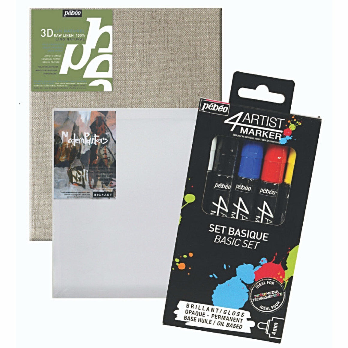 "This set includes a Pébéo 4Artist Markers pack of five colours White, Black, Red, Dark Blue & Yellow, One Modern Painters board 8"" x 10"" (203.2 x 254mm) and One Pébéo Linen panel 10"" x 12"" (254 x 304.8mm)"