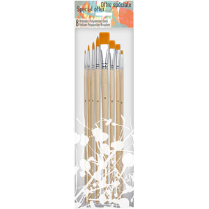 Pébéo Brush Set 502 is a set of 8 yellow bristles with long handle brushes.