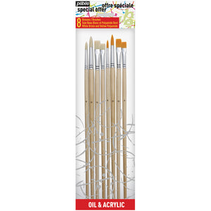 Pébéo Brush Set 504 is a set of 4 white and 4 synthetic bristles with long handle brushes.