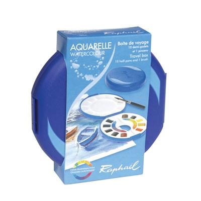 Raphael watercolour travel box contains 10 half pans and a quality brush, also included is colour mixing instructions for beginners.
