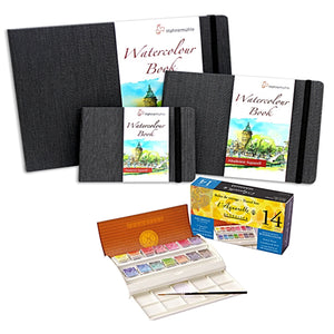 1x Sennelier Watercolour Travel Set 14 Half Pans. 1x Hahnemuhle Watercolour Book A6 landscape 1x Hahnemuhle Watercolour Book A5 landscape 1x Hahnemuhle Watercolour Book A4 landscape