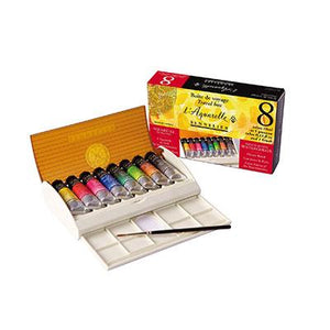 Sennelier Watercolour Set Field Travel Box set contains 8 x 10ml watercolour tubes and a quality brush.
