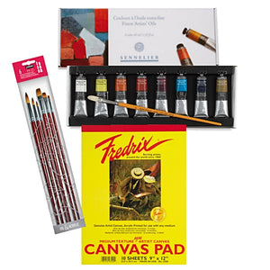 "1x Sennelier Fine Oil Discovery Set 8 x 40ml tubes 1x Fredrix White Canvas Pad 12"" x 16"" - 10 Sheets 1x Pébéo Brush Set"