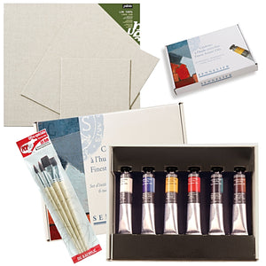 "1x Sennelier Fine Oil Set - Small 6 x 21ml tubes 1x Pébéo Linen Canvas Panels/Board 8"" x 10"" 1x Pébéo Linen Canvas Panels/Board 10"" x 12"" 1x Pébéo Linen Canvas Panels/Board 12"" x 12"" 1x Pébéo Brush Set of 4 round and flat"