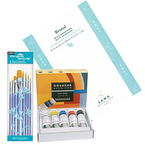 1 x Sennelier Gouache boxed set of 5 x 21ml tubes  1x Lana Bristol Pad - A4 - 20 sheets  1x Pébéo Brush Set