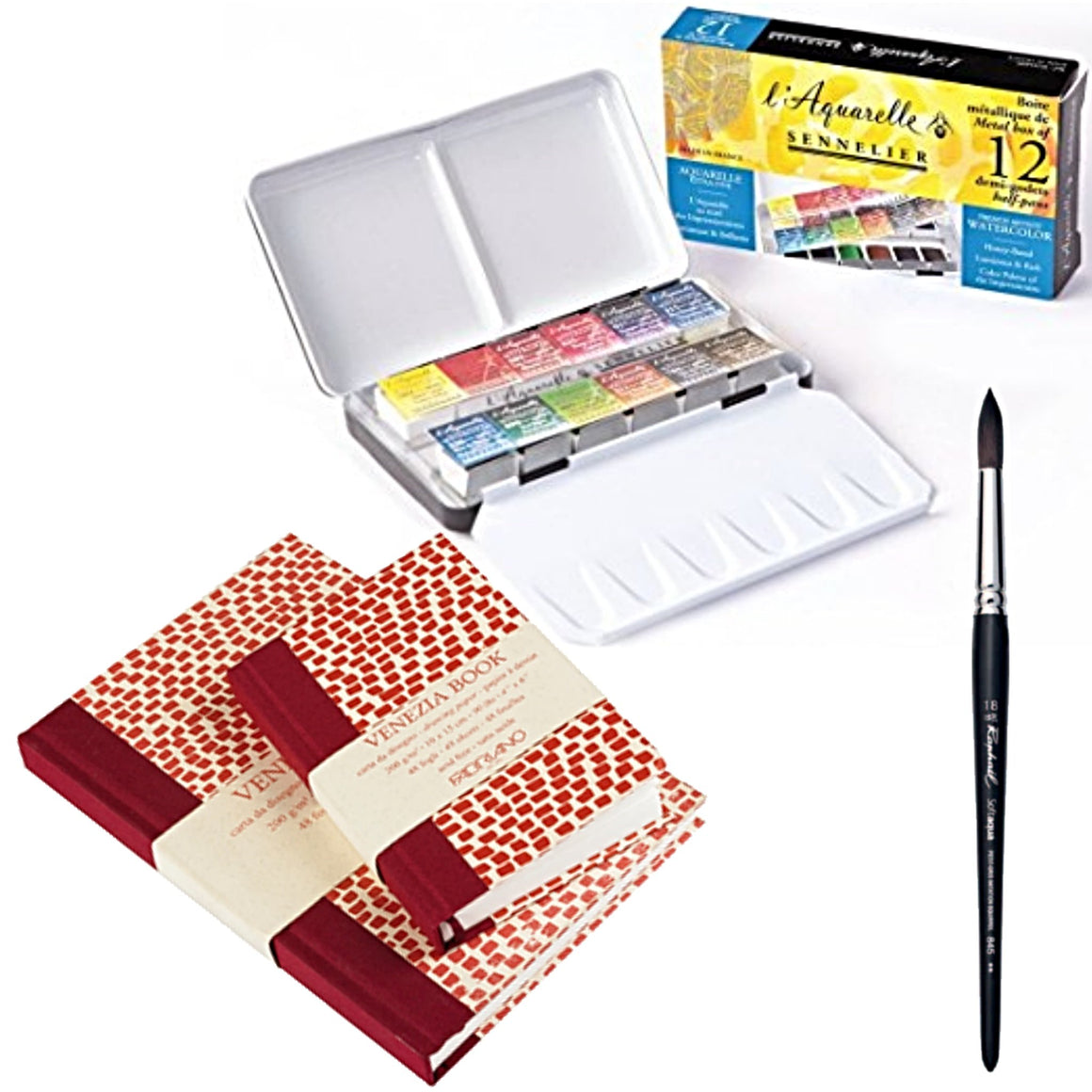 The set includes:  1x Sennelier 'Classic' Tin Travel Set - 12 Half Pans - Pocket Size 1x Fabriano Venezia Book 10 x 15cm - 200gsm 1x Fabriano Venezia Book 15 x 23cm - 200gsm  1x Raphael Round Brush - 18