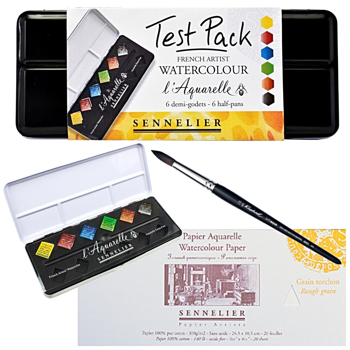 The set includes:  1x Sennelier L'Aquarelle Test Pack - 6 Half Pans 1x Sennelier Panoramic watercolour block - 10 x 25cm 1x Raphael Round Brush - 18