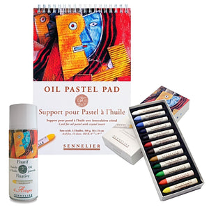 1 x Sennelier boxed set of 12 oil pastels, mid-tones and dark 1x Sennelier Oil Pastel Spiral Books - 16 x 24cm - 12 Sheets 1x Sennelier Oil Pastel Fixative - Artigny - 400ml Aerosol can