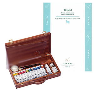 1x  Sennelier Gouache wooden boxed set of 13 tubes x 21ml 1x Jar gouache varnish 1x Dipper 2x Brushes 1x Plexiglass palette. 1x Lana Bristol Pad - A4 - 20 sh
