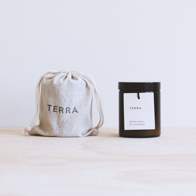 terra naturals handmade candles 30 hour green pear cinnamon