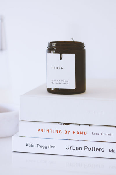 terra naturals melbourne handmade soy candle vanilla cream sandalwood 30 hour