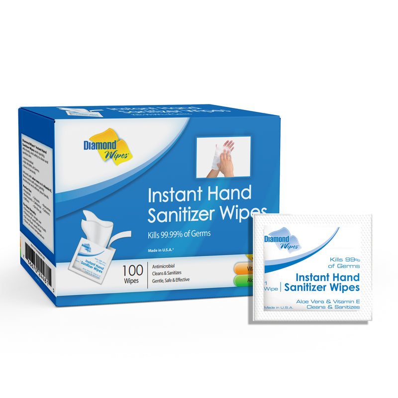 Instant Hand Sanitizer Alcohol  64% ethyl alcohol Wipes, 99.99% Effective Against Most Common Germs, Made in USA