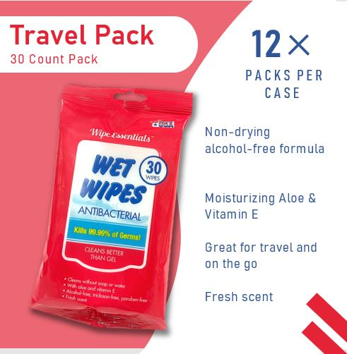 Wipeessentials Anti-bacterial Wipes- 30 count pack, 99.9% Effective Against Most Common Germs