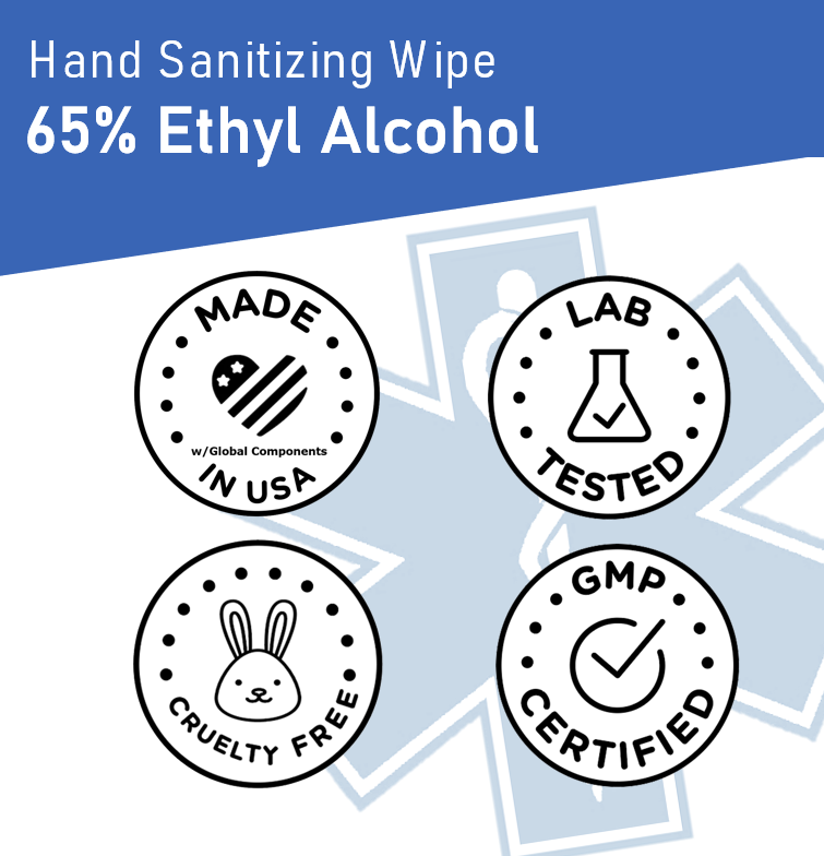 Hero Wipes EMS Hand Sanitizing Wipe, 65% Ethyl Alcohol, 99.9% Effective Against Bacterial Pathogens to Reduce Infection Risk - EWG Verified