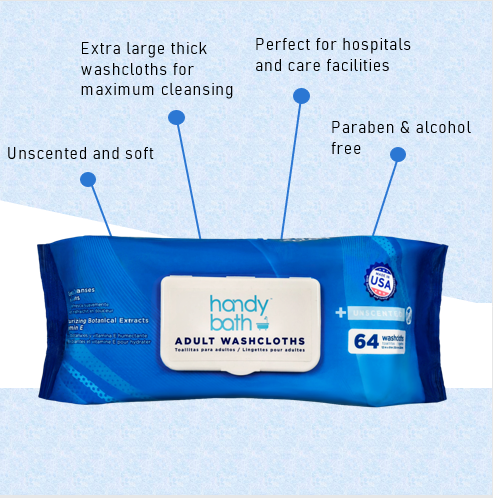 Handybath® Unscented Adult Washcloths - 64 Wipes per Pouch