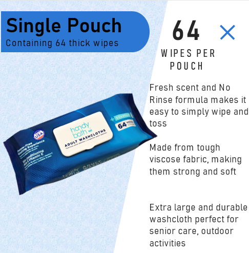 Handybath® Scented Adult Washcloths - 64 Wipes per Pouch