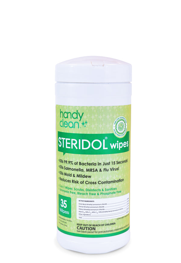 Handyclean™ Steridol® Cleaner Sanitizer Disinfectant - 12 canister x 35 Wipes= 420 wipes per case