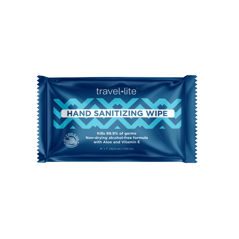 Travel Lite Hand Sanitizing Wipes, kills 99.9% of common germs