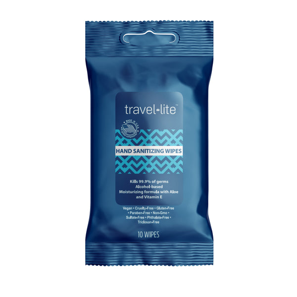 Travel Lite Hand Sanitizing Wipes 10 count packet, 65% ethyl alcohol formula, kill 99.9% of household germs