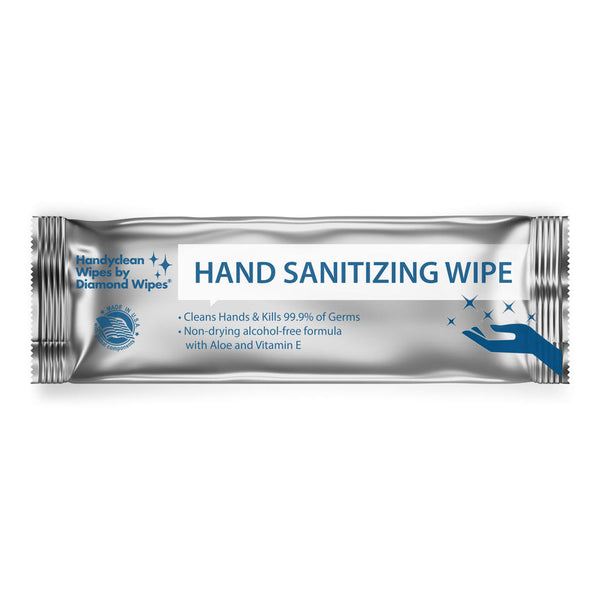 Handyclean Hand Sanitizing Wipes, kills 99.9% of common germs, Alcohol-Free wipes