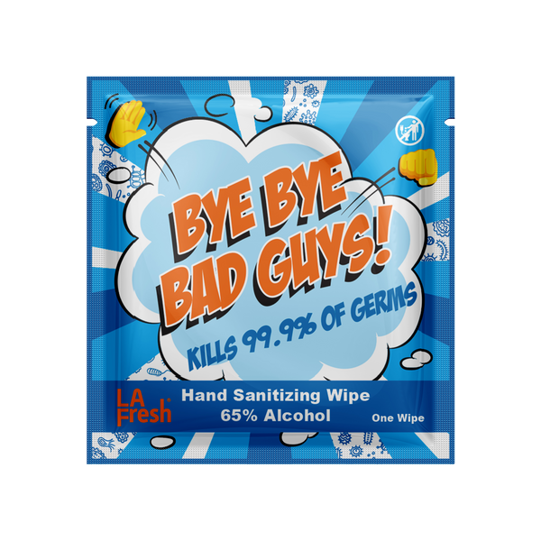 Bye Bye Bad Guy 65% Ethyl Alcohol Sanitizing Wipes 200 Wipes Case