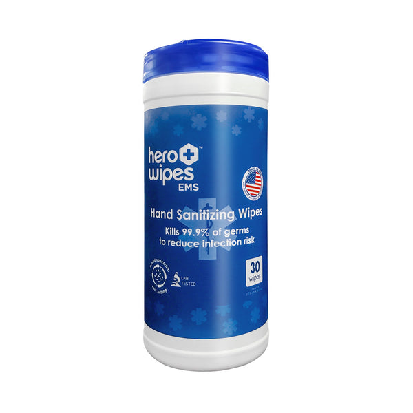 Hero Wipes EMS Hand Sanitizing Wipe 30-count Canister, 65% Ethyl Alcohol, Kills 99.9% bacterial Pathogens to Reduce Infection Risk - EWG Verified