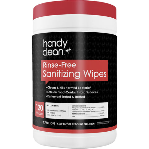 Handyclean™ Rinse-Free Sanitizing Wipes Canister - 120 count