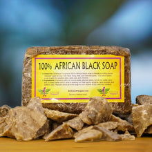 100% African Black Soap (1 lb - 16 oz)  - Plant Based Cleanser For The Body, Face, Hair, & Feet